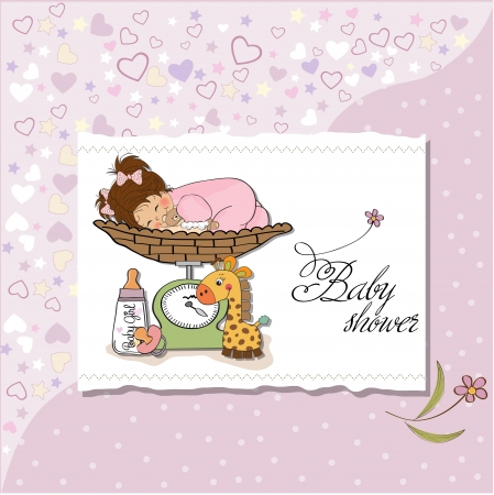 weighing scale: Beautiful baby girl on on weighing scale