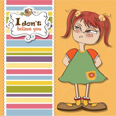 funny young girl amused and distrustful Vector