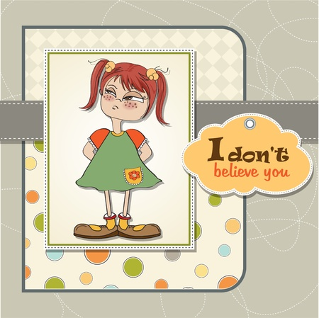 funny young girl amused and distrustful Stock Vector - 13752096