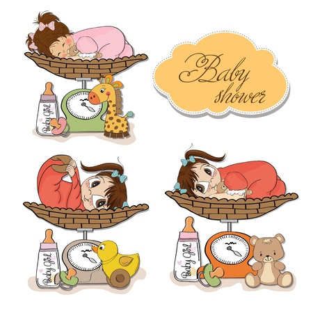 baby girl on on weighing scale, items set on white background Vector