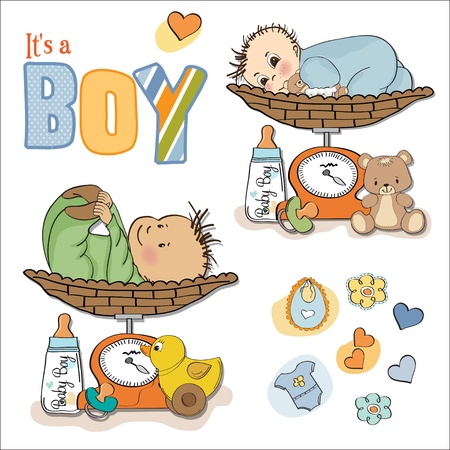 baby boy weighed on the scale, items set on white background Vector