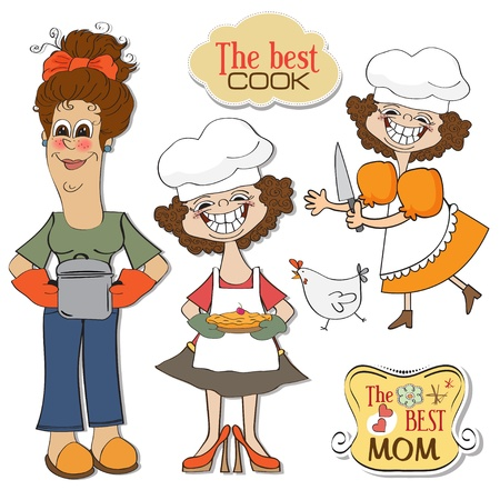 three funny cooks items set isolated on white background Vector