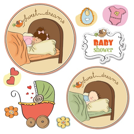 new baby items set on white background Vector