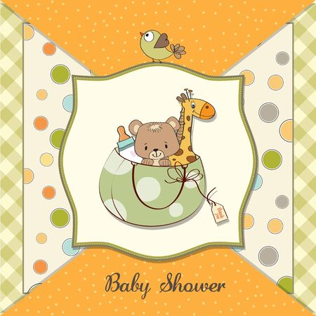 new baby announcement card with bag and same toys  Stock Vector - 13787567