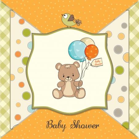 cute teddy bear: baby shower card with cute teddy bear