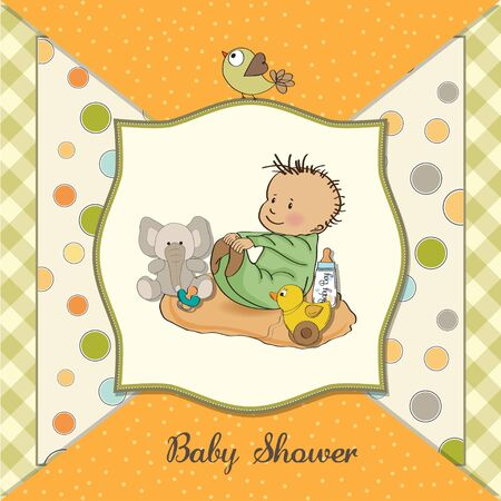 little baby boy play with his toys  shower card in vector format Stock Vector - 13787566