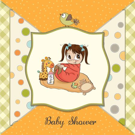 little baby girl play with her toys  baby shower card Stock Vector - 13787572