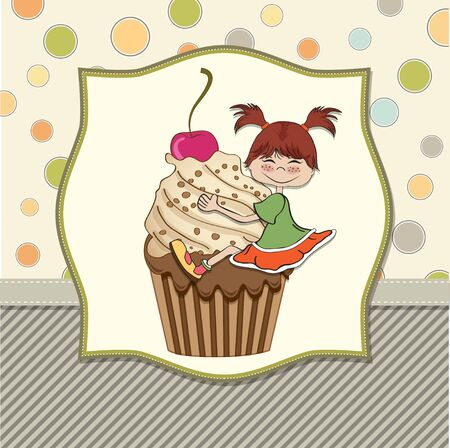 cupcake illustration: birthday card with funny girl perched on cupcake