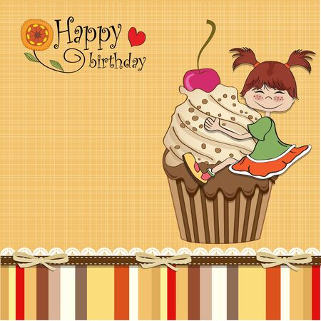 children eating: birthday card with funny girl perched on cupcake