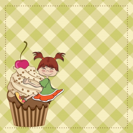 birthday card with funny girl perched on cupcake Stock Vector - 13835706