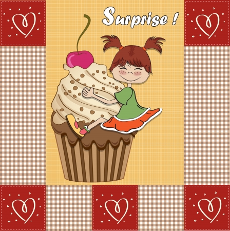perched: birthday card with funny girl perched on cupcake