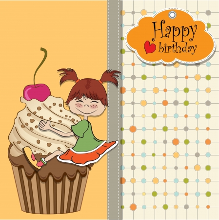 Birthday Card With Funny Girl Perched On Cupcake Royalty Free