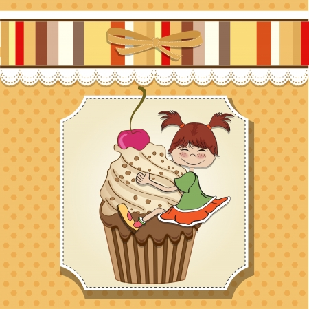 birthday card with funny girl perched on cupcake Stock Vector - 13835725