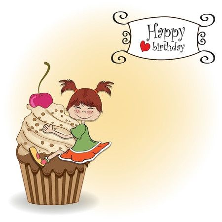 birthday card with funny girl perched on cupcake Stock Vector - 13835735