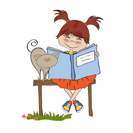 책을 읽고 젊은 달콤한 소녀 일러스트