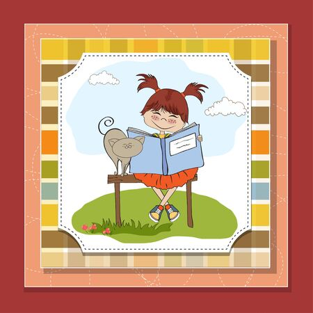 young sweet girl reading a book  Vector