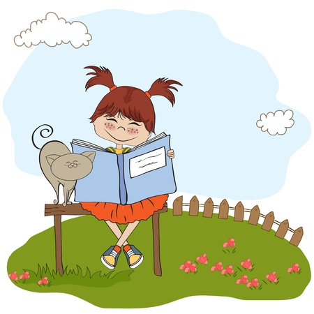 children book: young sweet girl reading a book