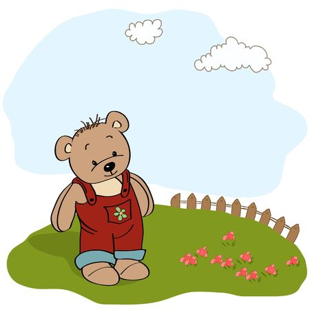 childish greeting card with teddy bear