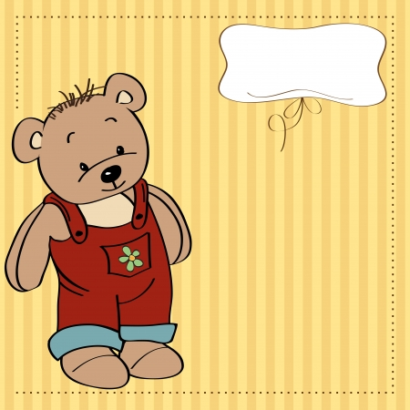 childish greeting card with teddy bear Stock Vector - 13884195