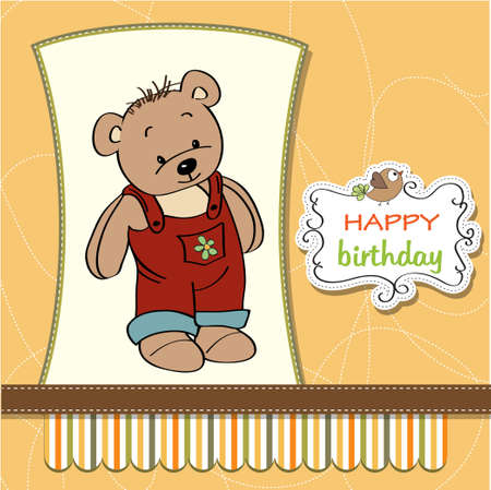 birhday greeting card with teddy bear Stock Vector - 13884228