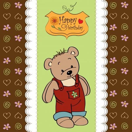 birhday greeting card with teddy bear Stock Vector - 13884231