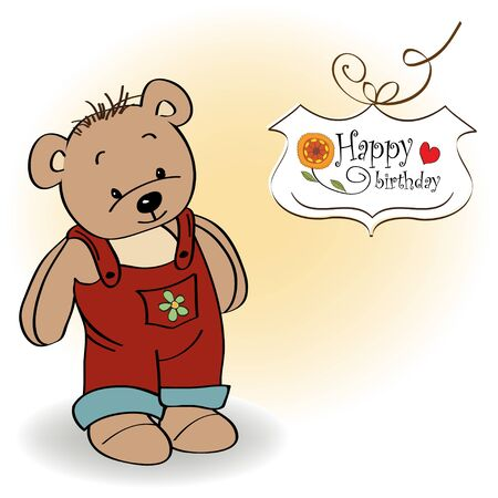 birhday greeting card with teddy bear Vector