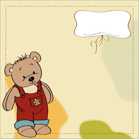 childish greeting card with teddy bear Vector