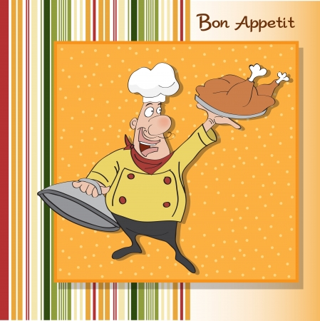 master chef: funny cartoon chef with tray of food in hand