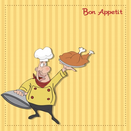 funny cartoon chef with tray of food in hand Stock Vector - 13982758