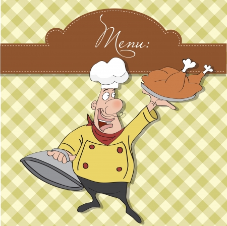 funny cartoon chef with tray of food in hand  Vector