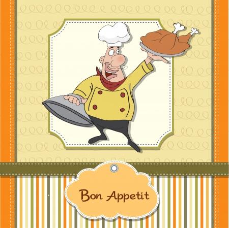 chef caricatura: caricatura de cocina divertida con bandeja de comida en la mano Vectores