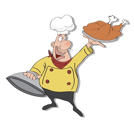 funny cartoon chef with tray of food in hand Stock Vector - 13982340