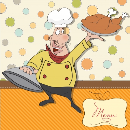 funny cartoon chef with tray of food in hand  Stock Vector - 13982752