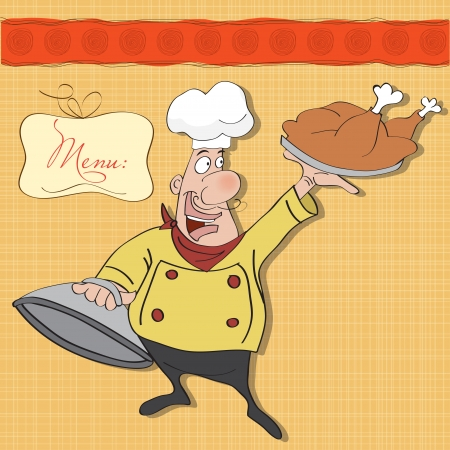 whites: funny cartoon chef with tray of food in hand