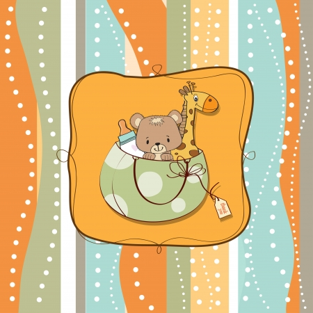 new baby announcement card with bag and same toys Stock Vector - 13982788