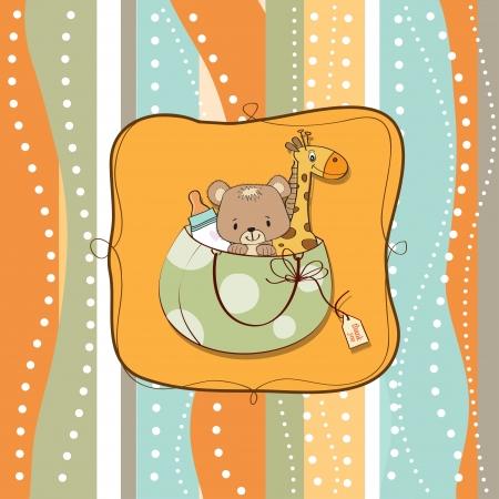 invitacion bebe: nuevo beb� anuncio de la tarjeta con el bolso y los juguetes mismos