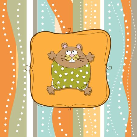 greeting card with cute little rat  Stock Vector - 13982749