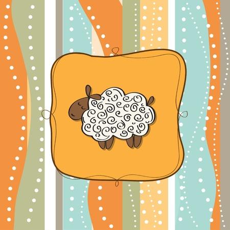 funny greeting card with cartoon sheep  Vector