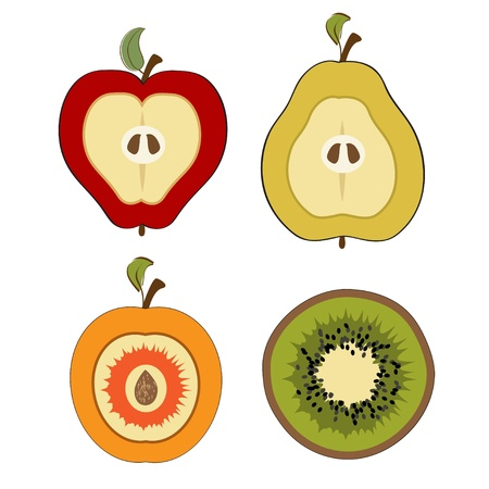 half apple: fruit items, cut in half isolated on white background