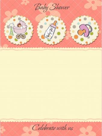 happy birthday girl: cute baby shower card Illustration