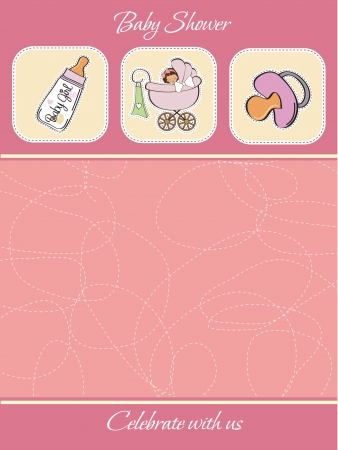 specifically: cute baby shower card Illustration