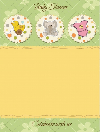 toy elephant: cute baby shower card Illustration