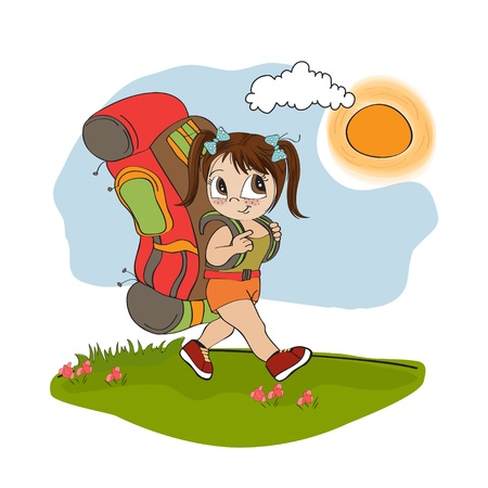 Traveling tourist girl with backpack Stock Vector - 14056113