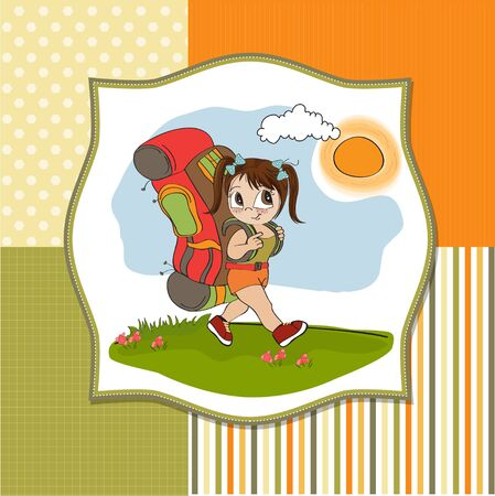 Traveling tourist girl with backpack Stock Vector - 14056111