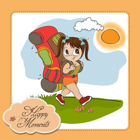 Traveling tourist girl with backpack Stock Vector - 14056107