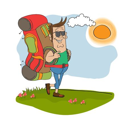 tourist man traveling with backpack Stock Vector - 14056158