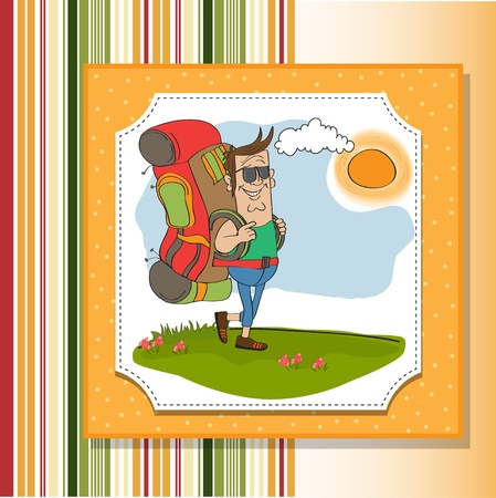 tourist man traveling with backpack Stock Vector - 14056182