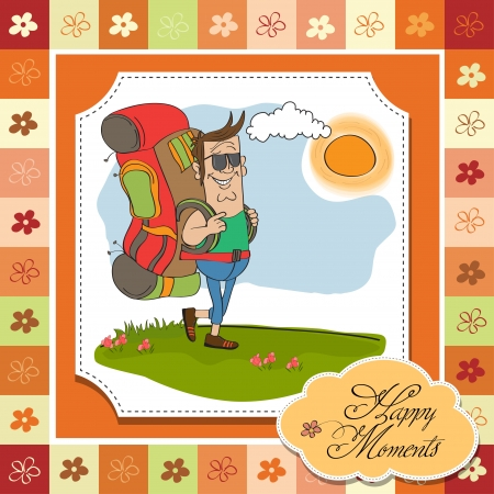 tourist man traveling with backpack Stock Vector - 14056163