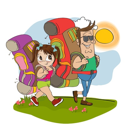 father and daughter tourist traveling with backpacks Vector