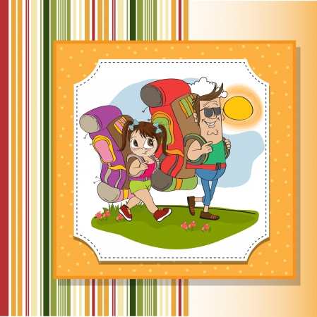 father and daughter tourist traveling with backpacks Stock Vector - 14056186